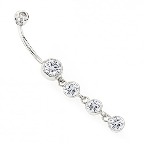Dangling Belly Button Ring Gold and Diamonds 1.65ct White Image