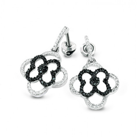 Dangling Flower Earrings with Black and White Diamonds 0.53ct 14K Gold dangling-flower-earrings-with-black-and-white-diamonds-053ct-14k-gold_1