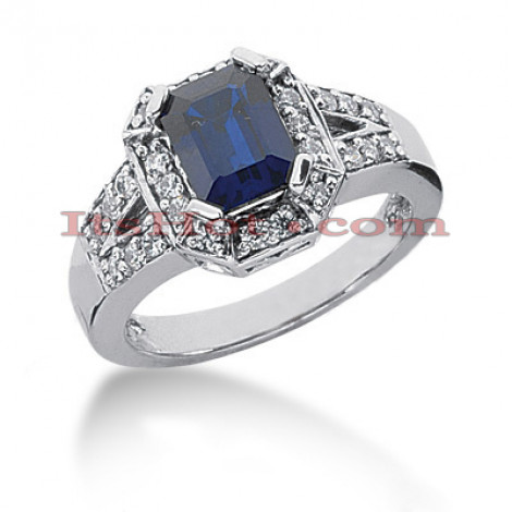 Designer Blue Sapphire Engagement Ring with Diamonds 14K 0.39ctd 1.50cts Main Image