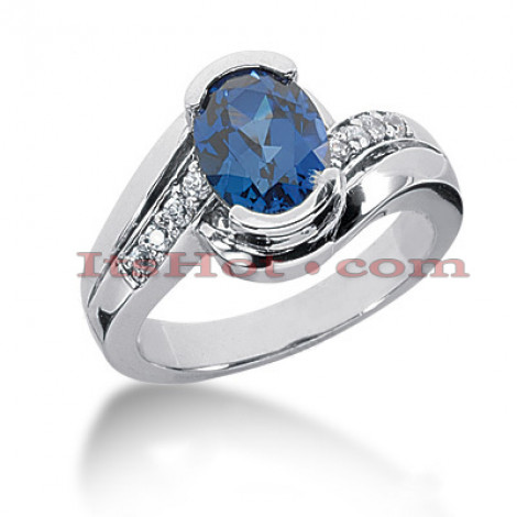 Diamond and Blue Sapphire Engagement Rings: 14K Gold Ring .16ctd 2cts Main Image
