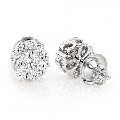 Discount Diamond Earrings in Sterling Silver 0.92ct Cluster Studs Main Image