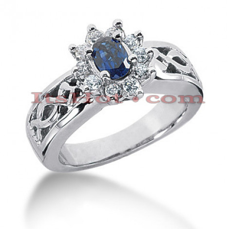 Flower Engagement Rings: Diamond and Blue Sapphire Ring 14K 11mm Main Image