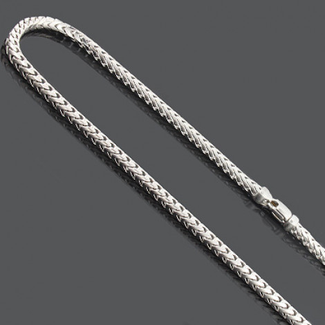 """Franco Chain Necklace 3.5mm 30"""" Mens Sterling Silver Chain Main Image"""