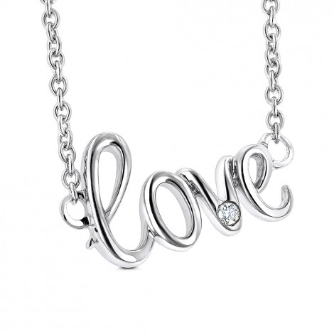 Genuine Diamond Love Necklace Sterling Silver Luxurman Love Quotes for Her Main Image