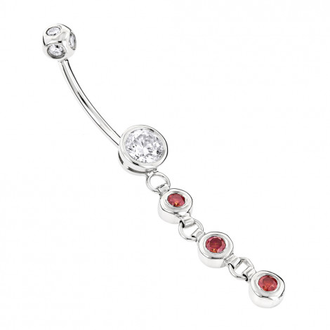 Gold Body Jewelry: White Pink Diamond Belly Button Ring 14K 0.86ct White Image