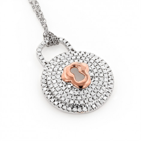 Gold Diamond Lock Pendant Necklace For Women 0.30ct 10K is $249 (66% off)