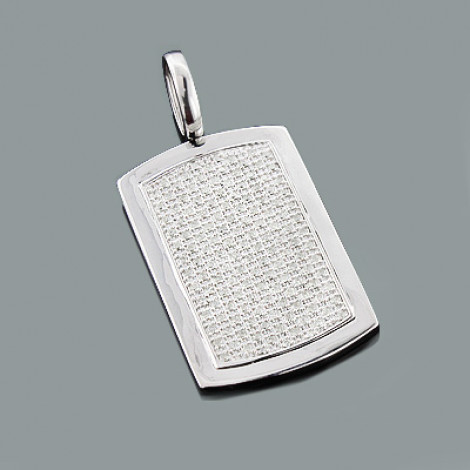 Iced Out Diamond Dog Tag Pendant 1.99ct Sterling Silver Main Image