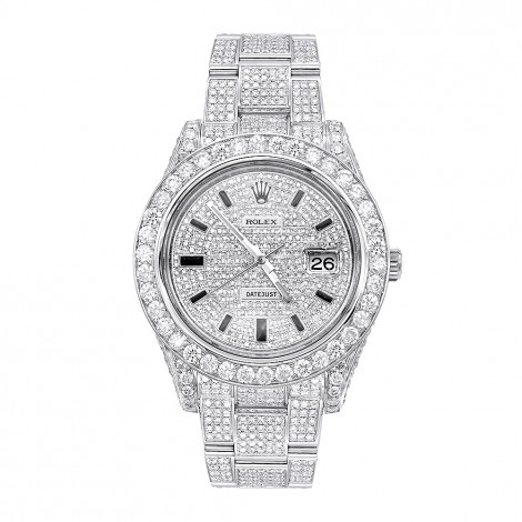 Iced Out Diamond Rolex Watch for Men Datejust with Diamond Bezel & Face 20c Main Image