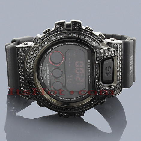 Iced Out G-Shock Watch Black Diamond Simulation DW6900 Main Image