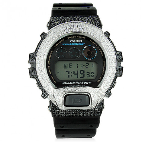 Iced Out G-Shock Watch with White and Black Crystals DW-6900 iced-out-g-shock-watch-with-white-and-black-crystals-dw-6900_1