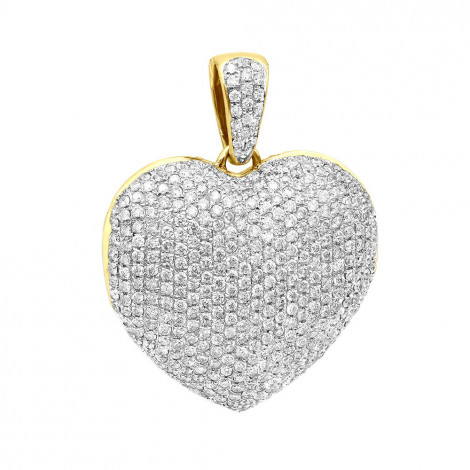 Iced Out Ladies Big Pave Diamond Heart Locket Pendant w Picture Solid 14K Gold Yellow Image