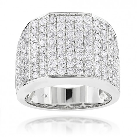 Iced Out Mens Diamond Ring 3.54ct 14K Gold White Image