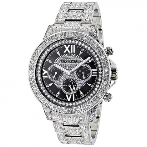 Iced Out Mens Watch with Diamond Band 1.25ct Luxurman Liberty Main Image