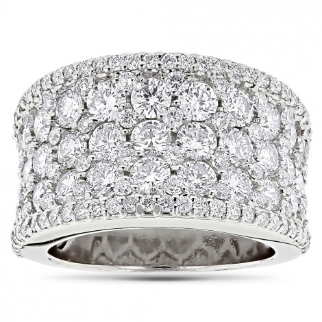 Wide Iced Out Pave Diamond Ring for Women 3.93ct 14K Gold by Luxurman White Image