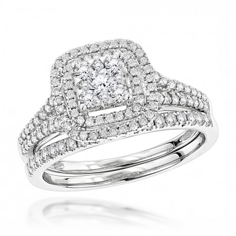 Double Halo Round Cut Diamond Engagement Ring Band Set 1 Carat 10k Gold is $999 (74% off)