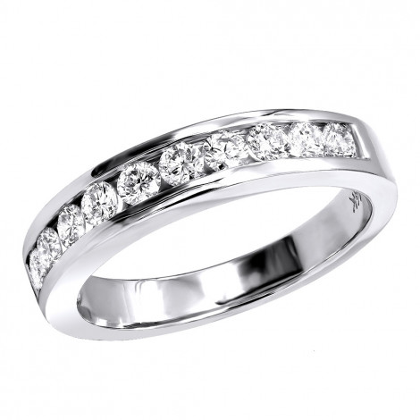 14K Gold Channel Set Diamond Engagement Ring Band 0.50ct White Image
