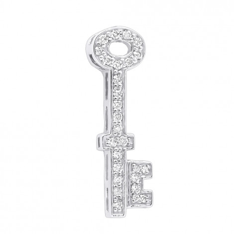Small Solid 14K Gold Round Diamond Key Pendant for Women 0.25ct White Image