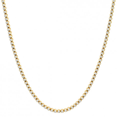 14K Gold Round Prong Set Mens Diamond Chain Necklace 13ct Yellow Image