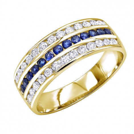 18k Gold Diamond and Sapphire Wedding Band for Men or Women by Luxurman Yellow Image
