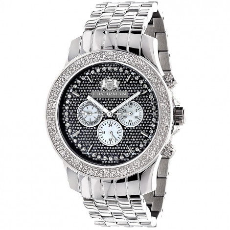 Large 46mm Affordable Real Diamond Watch for Men Luxurman Raptor 0.25ct Steel Band Main Image