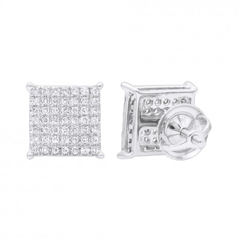 Square Stud Earrings with Diamonds 0.33ct 10K Gold White Image