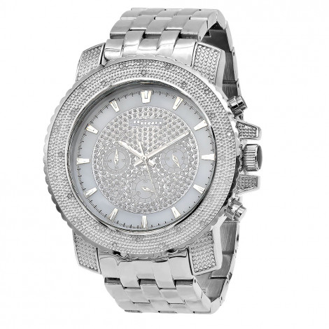 JoJino Chronograph Oversized Mens Diamond Watch Iced Out White MOP Dial 0.25ctw Main Image
