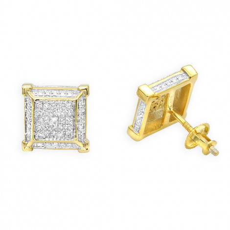 Yellow Gold Plated Silver Diamond Earrings 0.22ct Yellow Image