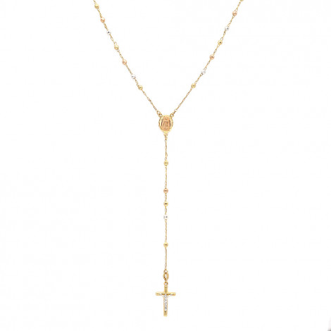14K White Yellow Rose Gold Rosary Beads Three Tone Chain Necklace 2.5mm 26in Yellow Image