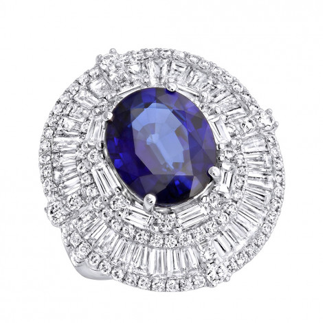 18K Gold Unique Blue Sapphire And Diamonds Cocktail Ring for Women 7.87Ct White Image