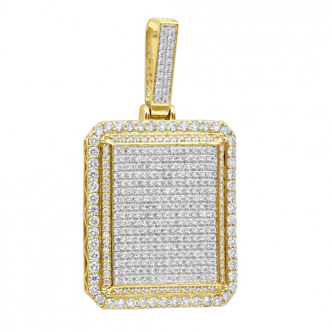 Big 14k Gold Iced Out Diamond Dog Tag Pendant for Men 8 Carats 2.25 Inches Yellow Image