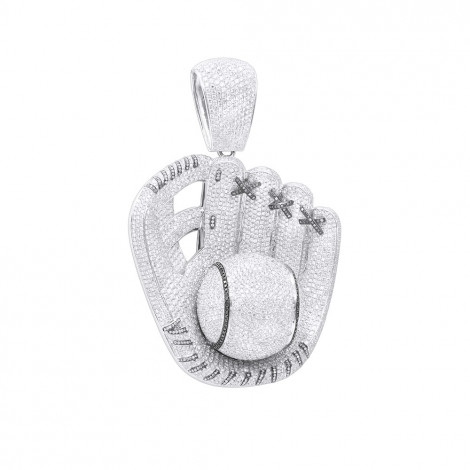 Iced Out Baseball Glove Real Diamond Pendant for Men by Joe Rodeo 14K Gold White Image