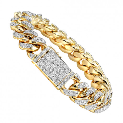 Real Diamond Miami Cuban Link Chain Bracelet For Men in 10K Gold 14mm Yellow Image