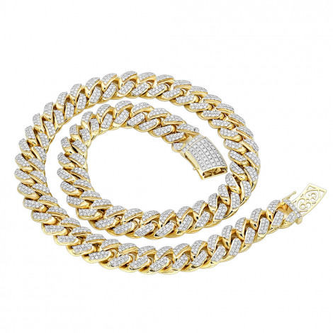 Real Hip Hop Jewelry Iced Out Miami Cuban Link Diamond Chain for Men 10K Gold Yellow Image