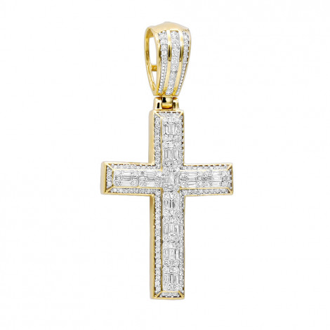 Religious Jewelry Large Baguette & Round Diamonds Mens Cross 1.5ct 14k Gold Yellow Image