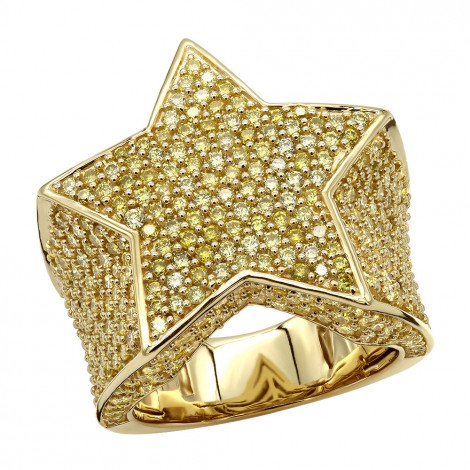 Statement Mens Pinky Rings 14k Gold 4 Carat Yellow Diamonds Star Ring is $127 (73% off)