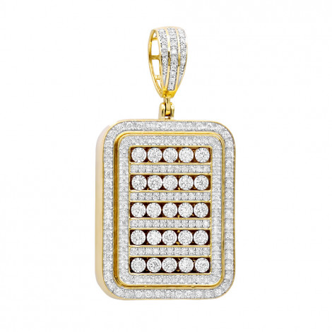 Unique 1.75 Carat Small Diamond 14K Gold Iced Out Dog Tag Pendant 1 Inch Yellow Image