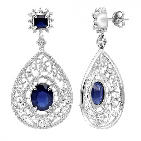 Unique Designer Blue Saphire and Diamond Drop Earrings for Women in 18k Gold White Image