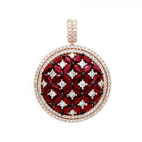 Unique Halo Ruby and Diamond Circle Pendant For Women 14K Gold 4CT LUXURMAN Rose Image