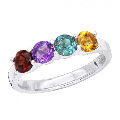 Ladies Birthstone Jewelry Custom Made 14K Gold Cocktail Ring with Gemstones White Image