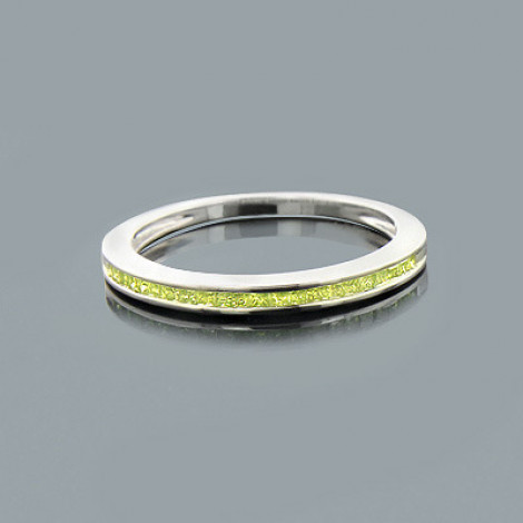Ultra Thin Ladies Green Diamond Wedding Band in Sterling Silver 0.25ct is $148.00 (37% off)