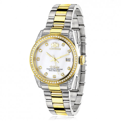 Ladies Luxurman Tribeca Two Tone Yellow Gold Plated Diamond Watch 1.5ct is $449 (62% off)