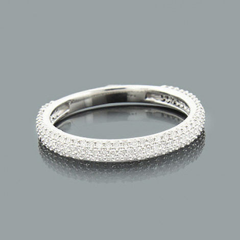 Thin Ladies Pave Diamond Ring 0.60ct 14K Gold Stackable Band Main Image