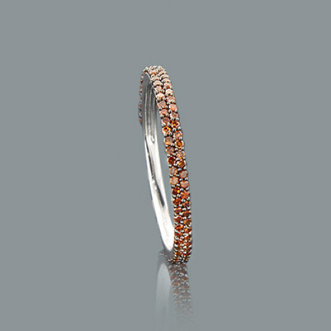Ultra Thin Ladies Red Diamond Ring 0.34ct 14K Stackable Main Image