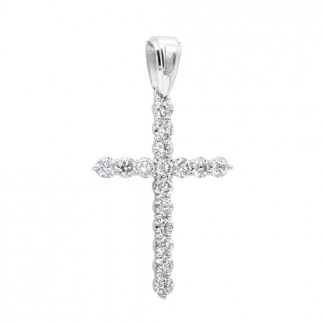 Large 2 Inches Long Diamond Cross Pendant for Men and Women 14K Gold 5 Carats White Image