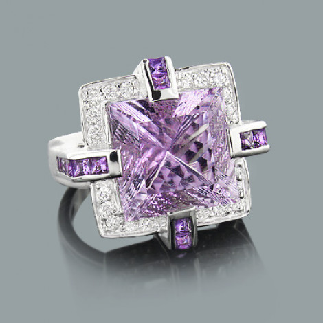 Large Amethyst Ring With Diamonds 0.84ct 18K Gold Main Image