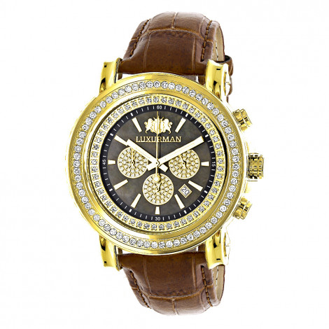 Large Diamond Bezel Watch for Men 2.5ct Luxurman Escalade Yellow Gold Plted Main Image