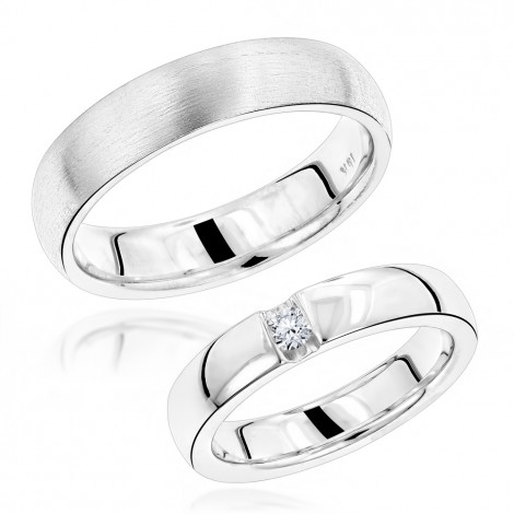 Luxurman 18K Gold Diamond Matching His and Hers Wedding Band Set Comfort Fit White Image
