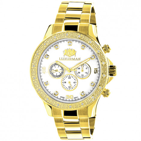 Luxurman Diamond Watches for Men 0.2ct Yellow Gold Plated White MOP Liberty Main Image