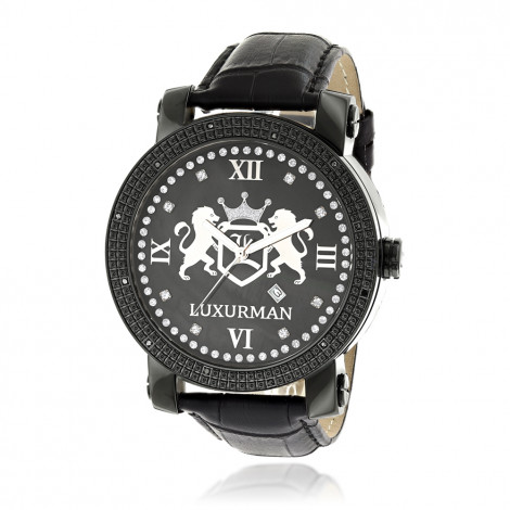 Luxurman Large Watches Black Diamond Watch for Men with Leather Band 0.12ct Main Image