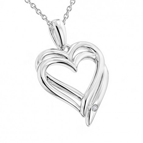 Luxurman Love Quotes Necklace Sterling Silver Double Hearts Diamond Pendant Main Image